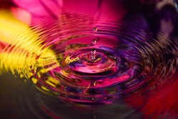 colorful flower of water reflection and water drop for background