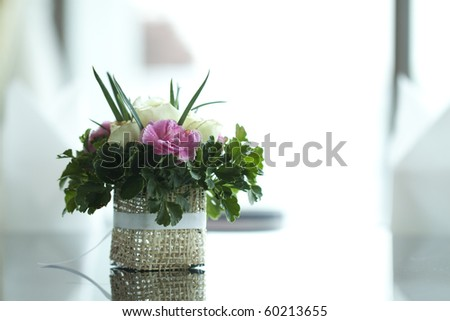 Colorful flower on table