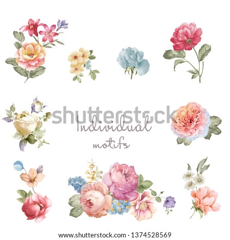 Colorful flower on white background,It's perfect for greeting cards,wedding invitation, wedding design,birthday and mothers day cards,Watercolor botanical illustration isolated on white background #1374528569