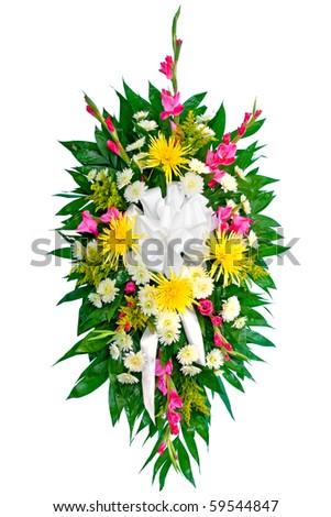 Colorful flower wreath arrangement - stock photo