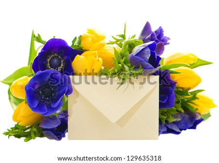 colorful flowers bouquet with gift card. yellow tulips and blue anemone on white background