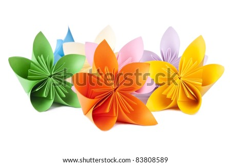 colorful flowers for kusudama, several pieces on a white background