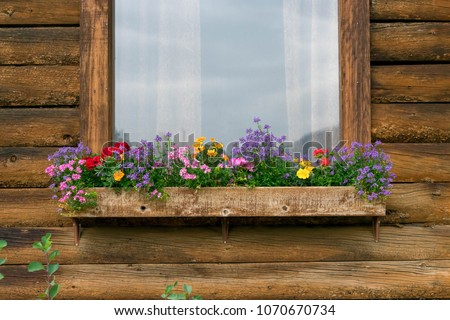 Colorful flowers in a window box on a rustic wood cabin with space for copy