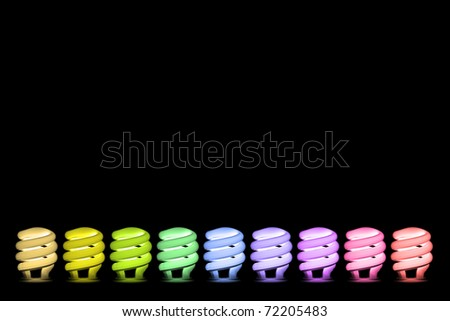 colorful Fluorescent light bulb on black background
