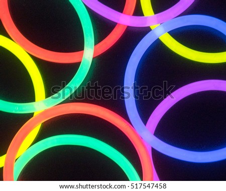 Colorful fluorescent light neon on black background  #517547458