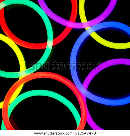 Colorful fluorescent light neon on black background  #517547470