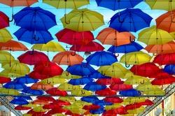 Colorful flyong umbrellas