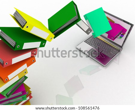 Colorful folders fly into your laptop