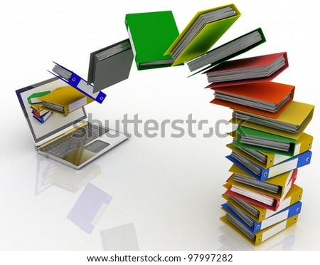 Colorful folders fly into your laptop - stock photo