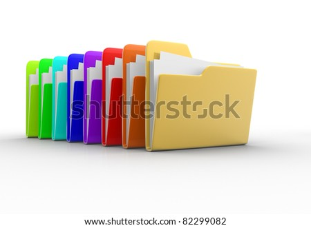 Colorful folders with paper. 3d render illustration