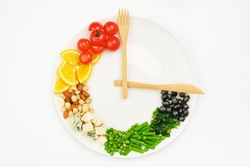 Colorful food and cutlery arranged in the form of a clock on a plate. Intermittent fasting, diet, weight loss, lunch time concept.