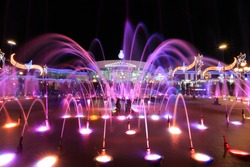 Colorful fountain at night in Soho square in Sharm El Sheikh, Egypt