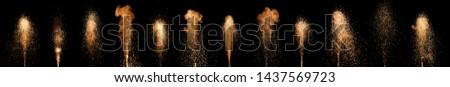 colorful fountain fireworks stream into dark night . Stock photo ©