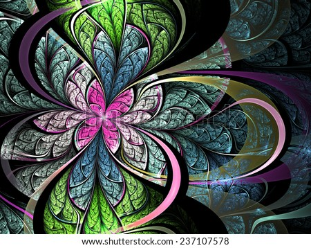 Stock Photo Colorful fractal flower, digital artwork for creative graphic design