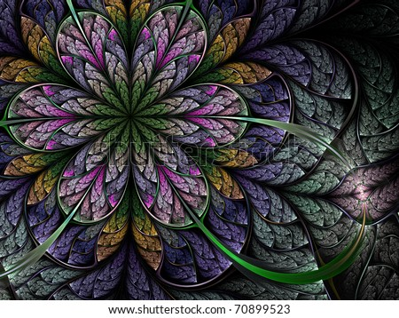 Colorful fractal flower pattern #70899523