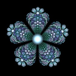Colorful fractal in the form of five petals of a flower on a black background.