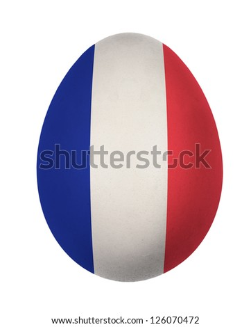 Colorful France flag Easter egg isolated on white background
