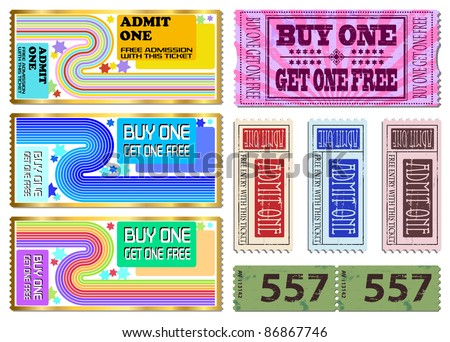 Colorful free admission and sale ticket Illustrations
