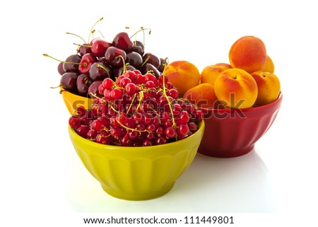 Colorful French bowls full with fresh fruit