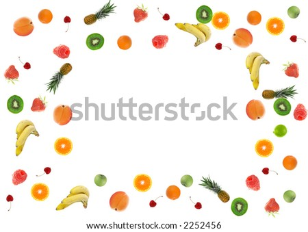 fruits and vegetables border. fruit border isolated on