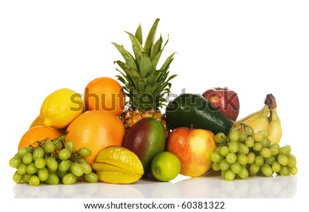 Colorful fresh fruits isolated on white background