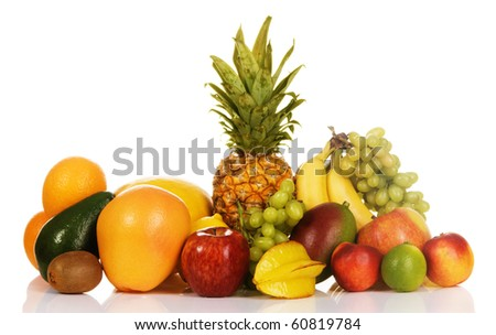 Colorful fresh fruits isolated on white background - stock photo