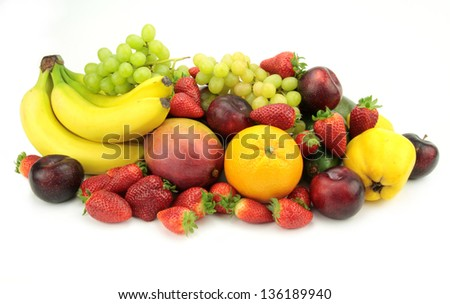 Colorful fresh fruits on white background. #136189940