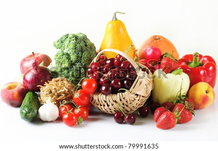 Colorful fresh group of fruits and vegetables for a balanced diet.