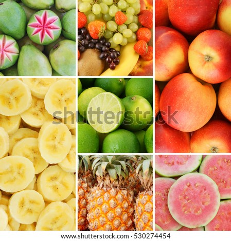 Colorful fresh summer fruits collage #530274454