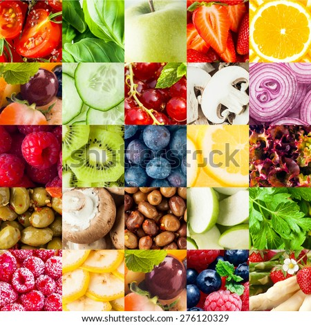 Colorful fruit and vegetable collage food background with assorted fall berries, basil, apple, orange, cucumber, mushroom, onion, olives, kiwifruit, banana, lettuce and parsley in square format