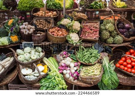 colorful Fruit and Vegetables at Market, Beaune, Dordogne, France, Europe