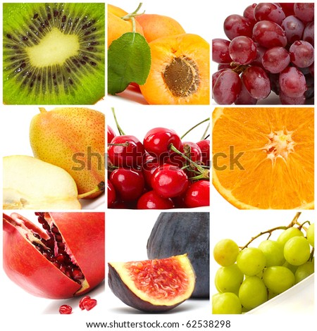 colorful fruit collage #62538298