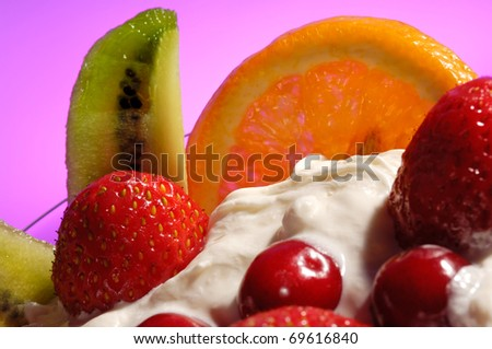 Colorful fruit ice cream