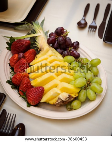 Colorful fruit salad catering