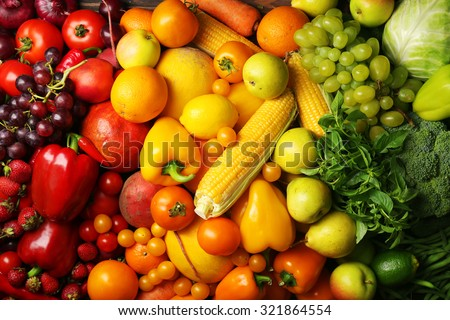 Colorful fruits and vegetables background #321864554