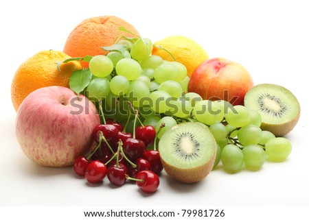 Colorful fruits isolated on white background.