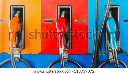 colorful fuel oil gasoline dispenser at petrol filling station