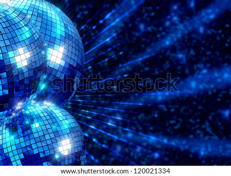 Colorful funky background with mirrored glitter disco balls for party - stock photo