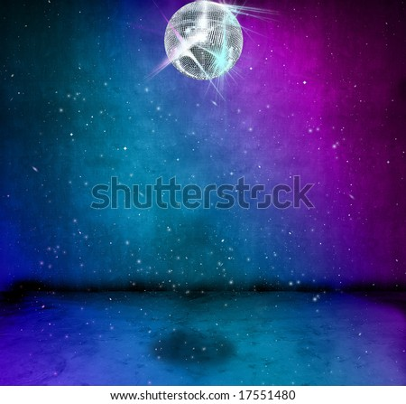 Colorful funky grunge room with glittering disco ball