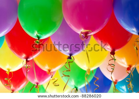 Colorful funny balloons. Background, low depth of focus.