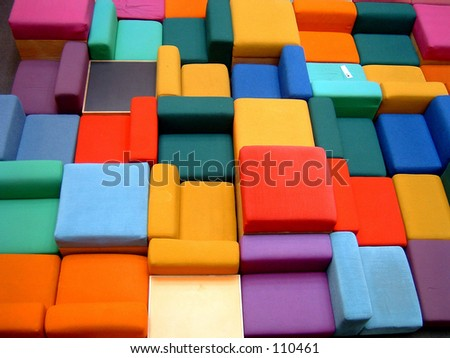 colorful furniture in a library