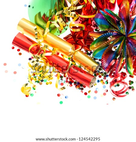 colorful garlands streamer cracker party hats and confetti festive decoration background