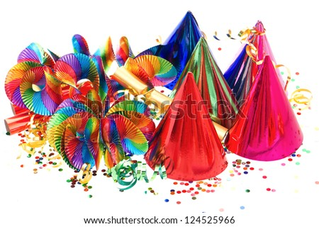 colorful garlands, streamer, party hats and confetti. festive decoration background