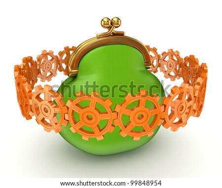 Colorful gears around big purse.Isolated on white background.3d rendered.