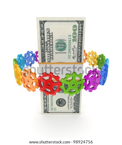 Colorful gears around dollar pack.Isolated on white background.3d rendered.