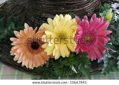 colorful gerber daisies on hat made of twigs