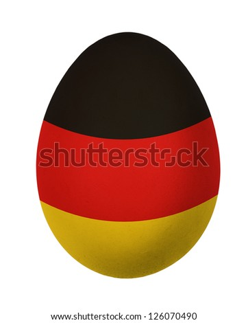 Colorful Germany flag Easter egg isolated on white background