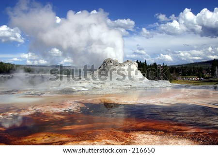 Colorful geyser in Yellowstone National Park.