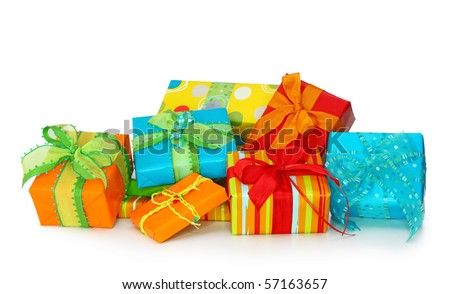 Colorful gift boxes isolated on white background