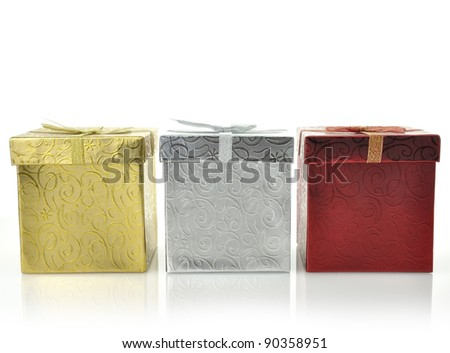 Colorful Gift Boxes On White Background,Close Up